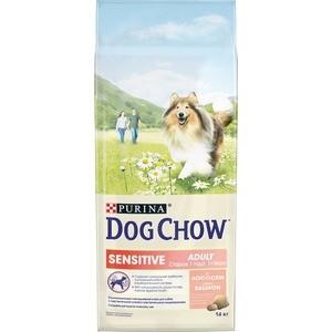 Сухой корм DOG CHOW Adult Sensitive with Salmon с лососем для взрослых собак с чувствительным пищеварением 14кг (12308566) сухой корм cat chow для кошек с чувствительным пищеварением и чувствительной кожей 15кг
