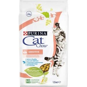 Сухой корм CAT CHOW Adult Sensitive rich in Poultry and Salmon с домашней птицей и лососем для кошек с чувствительным пищеварением 1,5кг (12123733) сухой корм cat chow для кошек с чувствительным пищеварением и чувствительной кожей 15кг