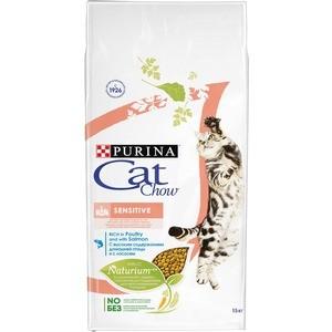 Сухой корм CAT CHOW Adult Sensitive rich in Poultry and Salmon с домашней птицей и лососем для кошек с чувствительным пищеварением 15кг (12147057)