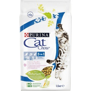 Сухой корм CAT CHOW Adult 3-in-1 rich in Poultry and Turkey с домашней птицей и индейкой для взрослых кошек 1,5кг (12212308)