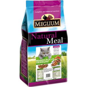 Сухой корм MEGLIUM Natural Meal Cat Adult Chicken, Beef & Vegetables с курицей, говядиной и овощами для взрослых кошек 15кг (MGS0115) сухой корм meglium natural meal cat adult beef с говядиной для взрослых кошек 3кг mgs0503