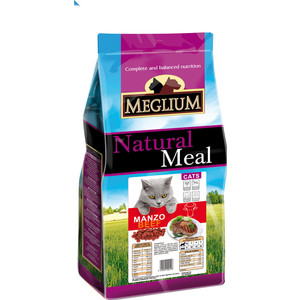 цена на Сухой корм MEGLIUM Natural Meal Cat Adult Beef с говядиной для взрослых кошек 3кг (MGS0503)