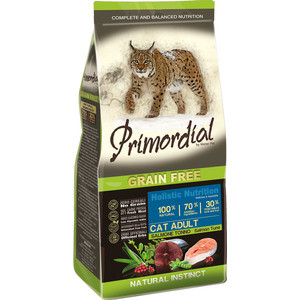 Сухой корм Primordial Grain Free Holistic Cat Adult with Salmon & Tuna беззерновой с лососем и тунцом для кошек 2кг (MGSP1202) сухой корм pronature holistic adult cat skin