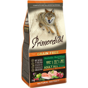 Сухой корм Primordial Grain Free Holistic Dog Adult All Breed with Chicken & Salmon беззерновой с курицей и лососем для собак всех пород 2кг (MSP5202) сухой корм primordial grain free holistic dog adult all breed with chicken