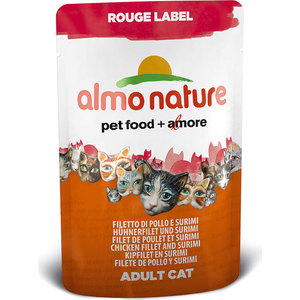 Паучи Almo Nature Rouge Label Adult Cat with Chicken Fillet and Surimi с куриным филе и сурими для кошек 55г (5831) лапша бизнес меню с куриным филе б п 110г термотарелка