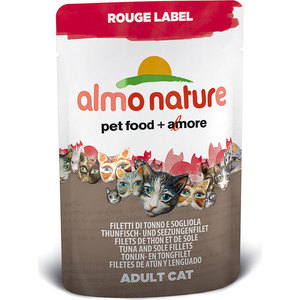 Паучи Almo Nature Rouge Label Adult Cat with Tuna and Sole Fillets с тунцом и камбалой для кошек 55г (4404/3340/5834) паучи almo nature classic in jelly adult cat with tuna and white bait с тунцом и сардинками в желе для кошек 70г 8418