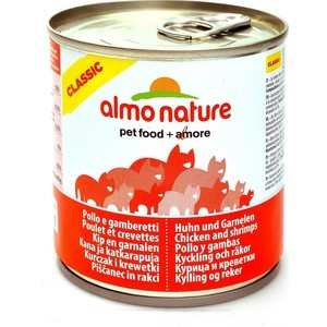 Консервы Almo Nature Classic Adult Cat with Chicken and Shrimps с курицей и креветками для кошек 280г (3760) паучи almo nature classic in jelly adult cat with tuna and white bait с тунцом и сардинками в желе для кошек 70г 8418