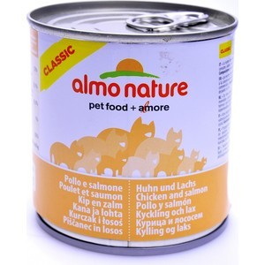 Консервы Almo Nature Classic Adult Cat with Chicken and Salmon с курицей и лососем для кошек 280г (3777) almo nature almo nature classic dog chicken fillet