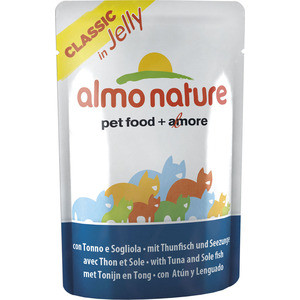 Паучи Almo Nature Classic in Jelly Adult Cat with Tuna and Sole Fish с тунцом и камбалой в желе для кошек 70г (1117) паучи almo nature classic in jelly adult cat with tuna and white bait с тунцом и сардинками в желе для кошек 70г 8418
