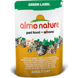 Паучи Almo Nature Green Label Adult Cat with Tuna, Chicken Fillets and Ham с тунцом, куриным филе и ветчиной для кошек 55г (5825) chicken of the sea tuna