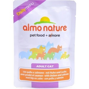 Паучи Almo Nature Daily Menu Adult Cat with Chicken and Salmon с курицей и лососем для кошек 70г (1957) консервы almo nature legend adult cat with chicken and liver с курицей и печенью для кошек 70г 4583