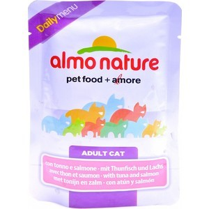 Паучи Almo Nature Daily Menu Adult Cat with Tuna and Salmon с тунцом и лососем для кошек 70г (1995) паучи almo nature classic in jelly adult cat with tuna and white bait с тунцом и сардинками в желе для кошек 70г 8418