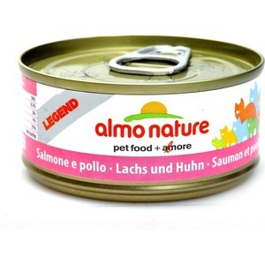 Консервы Almo Nature Ledend Adult Cat with Salmon and Chicken с лососем и курицей для кошек 70г (7657) консервы gimborn gimpet shinecat chicken with crab цыпленок с крабом для кошек 70г 413334