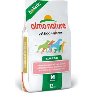 Сухой корм Almo Nature Holistic Adult Dog Medium with Salmon and Rice с лососем и рисом для взрослых собак средних пород 2кг (2114) petrainer 330 yards remote training e collar pet998dbb rechargeable and waterproof dog training collar for 1 dog with safe beep vibration and shock electronic electric collar for medium or large dog trainer with newly upgraded blue backlight screen