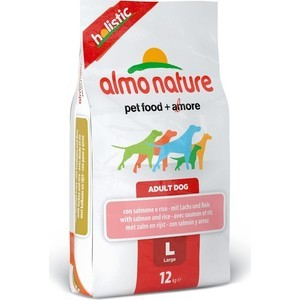 Сухой корм Almo Nature Holistic Adult Dog Large with Salmon and Rice с лососем и рисом для взрослых собак крупных пород 12кг (2299) petrainer 330 yards remote training e collar pet998dbb rechargeable and waterproof dog training collar for 1 dog with safe beep vibration and shock electronic electric collar for medium or large dog trainer with newly upgraded blue backlight screen