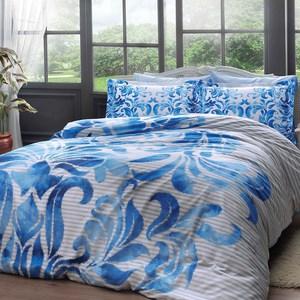 где купить Комплект постельного белья TAC 2-х сп, сатин, Fabrice v1-mavi, синий (4245-35716) по лучшей цене