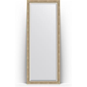 Зеркало напольное с фацетом поворотное Evoform Exclusive Floor 78x198 см, в багетной раме - состаренное серебро с плетением 70 мм (BY 6102) зеркало с фацетом в багетной раме поворотное evoform exclusive 53x83 см состаренное золото с плетением 70 мм by 3405