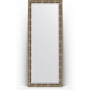Зеркало напольное с фацетом поворотное Evoform Exclusive Floor 78x198 см, в багетной раме - серебряный бамбук 73 мм (BY 6107) зеркало напольное с фацетом поворотное evoform exclusive floor 78x198 см в багетной раме прованс с плетением 70 мм by 6104