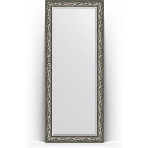 Зеркало пристенное напольное с фацетом Evoform Exclusive Floor 84x203 см, в багетной раме - византия серебро 99 мм (BY 6125) зеркало с гравировкой evoform exclusive g 99x124 см в багетной раме византия серебро 99 мм by 4372