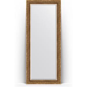 Зеркало пристенное напольное с фацетом Evoform Exclusive Floor 84x204 см, в багетной раме - вензель бронзовый 101 мм (BY 6131)