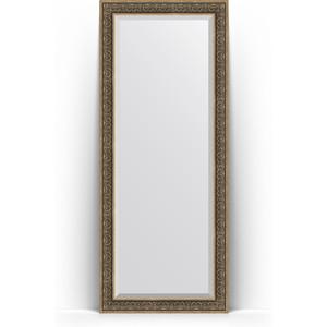 Зеркало пристенное напольное с фацетом Evoform Exclusive Floor 84x204 см, в багетной раме - вензель серебряный 101 мм (BY 6132)