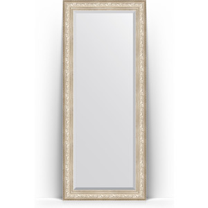 зеркало с фацетом в багетной раме поворотное evoform exclusive 120x180 см виньетка серебро 109 мм by 3634 Зеркало напольное с фацетом поворотное Evoform Exclusive Floor 85x205 см, в багетной раме - виньетка серебро 109 мм (BY 6136)