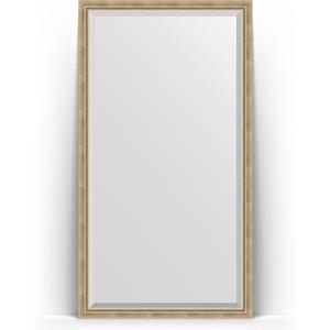 Зеркало напольное с фацетом поворотное Evoform Exclusive Floor 108x198 см, в багетной раме - состаренное серебро с плетением 70 мм (BY 6142) зеркало с фацетом в багетной раме поворотное evoform exclusive 53x83 см прованс с плетением 70 мм by 3407