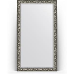 Зеркало пристенное напольное с фацетом Evoform Exclusive Floor 114x203 см, в багетной раме - византия серебро 99 мм (BY 6165) зеркало с гравировкой evoform exclusive g 99x124 см в багетной раме византия серебро 99 мм by 4372
