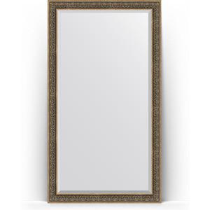 Зеркало пристенное напольное с фацетом Evoform Exclusive Floor 114x204 см, в багетной раме - вензель серебряный 101 мм (BY 6172)