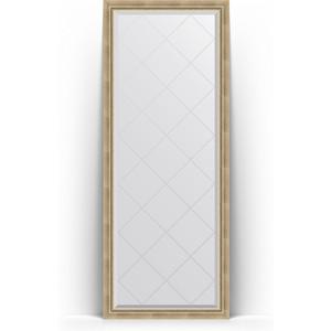 Зеркало пристенное напольное с гравировкой Evoform Exclusive-G Floor 78x198 см, в багетной раме - состаренное серебро с плетением 70 мм (BY 6302)