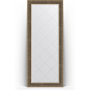 Зеркало напольное с гравировкой поворотное Evoform Exclusive-G Floor 84x204 см, в багетной раме - вензель серебряный 101 мм (BY 6332)