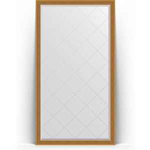 Зеркало пристенное напольное с гравировкой Evoform Exclusive-G Floor 108x198 см, в багетной раме - состаренное золото с плетением 70 мм (BY 6341)