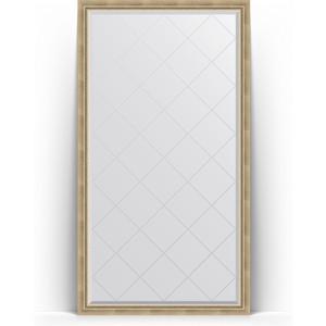 Зеркало пристенное напольное с гравировкой Evoform Exclusive-G Floor 108x198 см, в багетной раме - состаренное серебро с плетением 70 мм (BY 6342)