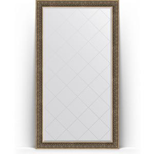Зеркало пристенное напольное с гравировкой Evoform Exclusive-G Floor 114x204 см, в багетной раме - вензель серебряный 101 мм (BY 6372)