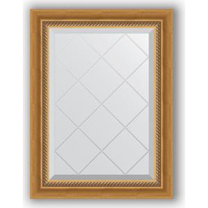Зеркало с гравировкой Evoform Exclusive-G 53x71 см, в багетной раме - состаренное золото с плетением 70 мм (BY 4002)