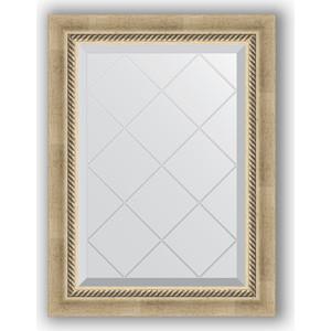 Зеркало с гравировкой Evoform Exclusive-G 53x71 см, в багетной раме - состаренное серебро с плетением 70 мм (BY 4003)
