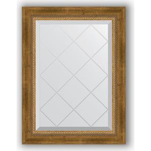 Зеркало с гравировкой поворотное Evoform Exclusive-G 53x71 см, в багетной раме - состаренная бронза с плетением 70 мм (BY 4004)