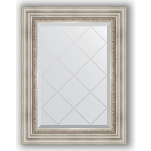 Зеркало с гравировкой поворотное Evoform Exclusive-G 56x74 см, в багетной раме - римское серебро 88 мм (BY 4018) зеркало с гравировкой поворотное evoform exclusive g 56x126 см в багетной раме римское серебро 88 мм by 4061