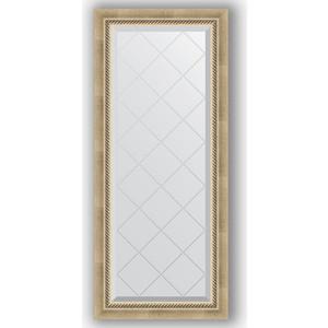 Зеркало с гравировкой Evoform Exclusive-G 53x123 см, в багетной раме - состаренное серебро с плетением 70 мм (BY 4046)