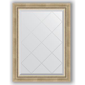 Зеркало с гравировкой Evoform Exclusive-G 63x86 см, в багетной раме - состаренное серебро с плетением 70 мм (BY 4089)