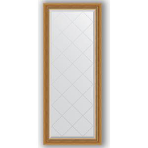 Зеркало с гравировкой Evoform Exclusive-G 63x153 см, в багетной раме - состаренное золото с плетением 70 мм (BY 4131)