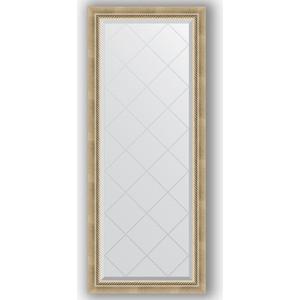 Зеркало с гравировкой Evoform Exclusive-G 63x153 см, в багетной раме - состаренное серебро с плетением 70 мм (BY 4132)