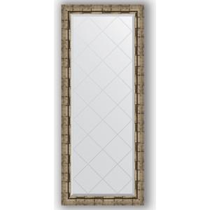 Зеркало с гравировкой поворотное Evoform Exclusive-G 63x153 см, в багетной раме - серебряный бамбук 73 мм (BY 4136)