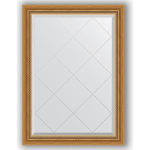 Зеркало с гравировкой Evoform Exclusive-G 73x101 см, в багетной раме - состаренное золото с плетением 70 мм (BY 4174)