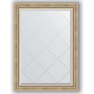 Зеркало с гравировкой Evoform Exclusive-G 73x101 см, в багетной раме - состаренное серебро с плетением 70 мм (BY 4175)