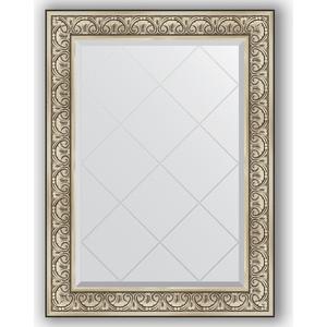 Зеркало с гравировкой поворотное Evoform Exclusive-G 80x107 см, в багетной раме - барокко серебро 106 мм (BY 4209) зеркало с гравировкой поворотное evoform exclusive g 80x135 см в багетной раме барокко золото 106 мм by 4251