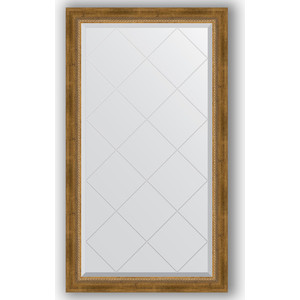 Зеркало с гравировкой поворотное Evoform Exclusive-G 73x128 см, в багетной раме - состаренная бронза с плетением 70 мм (BY 4219)