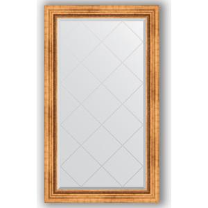 Зеркало с гравировкой поворотное Evoform Exclusive-G 76x131 см, в багетной раме - римское золото 88 мм (BY 4232)