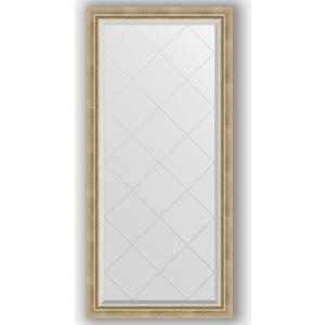 Зеркало с гравировкой Evoform Exclusive-G 73x155 см, в багетной раме - состаренное серебро с плетением 70 мм (BY 4261)