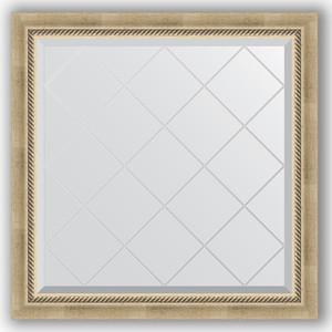 Зеркало с гравировкой Evoform Exclusive-G 83x83 см, в багетной раме - состаренное серебро с плетением 70 мм (BY 4304)